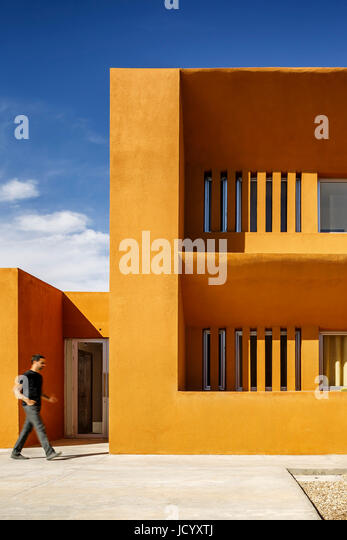 Detail of 2-storey facade. Laayoune Technology School, Laayoune, Morocco. Architect: Saad El Kabbaj, Driss Kettani, - Stock-Bilder