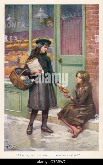 A generous girl gives a poor  street girl some bread outside  a baker's shop       Date: 1905 - Stock Image