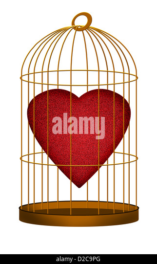 Love heart in gilded cage - Stock Image