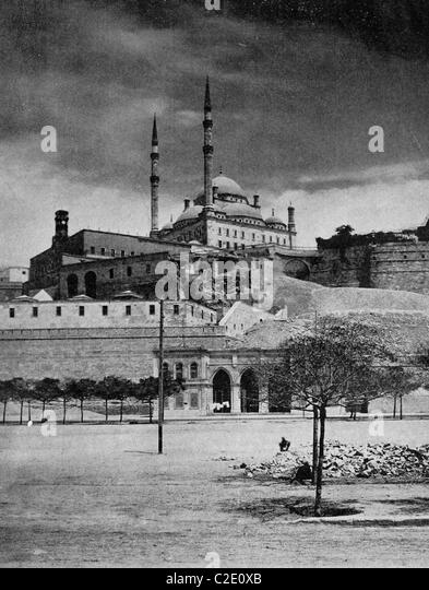 One of the first autotypes of the Citadel of Cairo, Egypt, historical photograph, 1884 - Stock Image