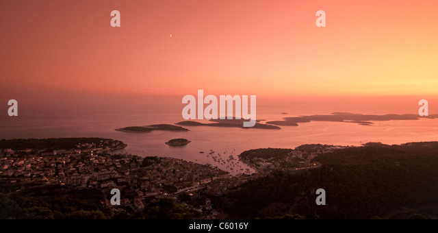 Panoramic view to Hvar and small islands from view point at sunset , Croatia - Stock Image