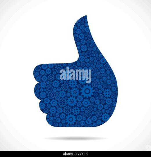 hand show like symbol design with gear - Stock Image