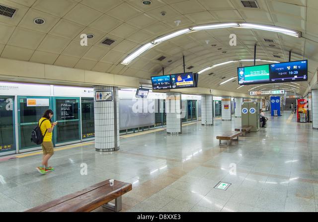 seoul metro station interior in south korea - Stock Image