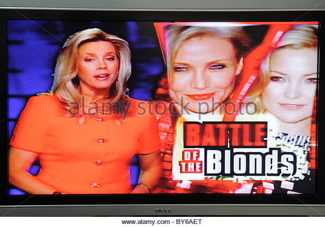 Miami Beach Florida television TV flat panel screen monitor cable channel celebrity gossip - Stock Image