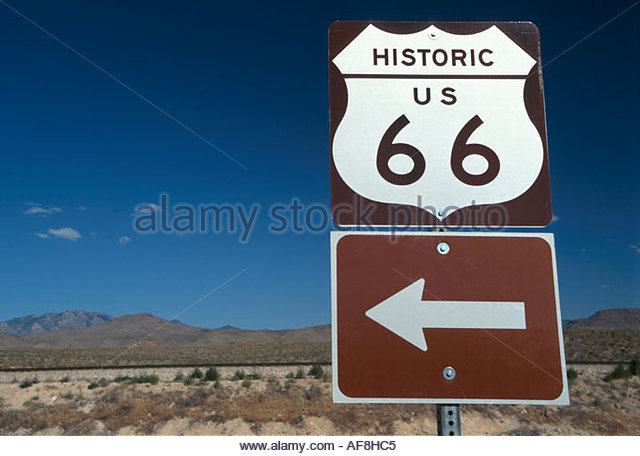 Arizona Kingman Route road sign historic highway - Stock Image