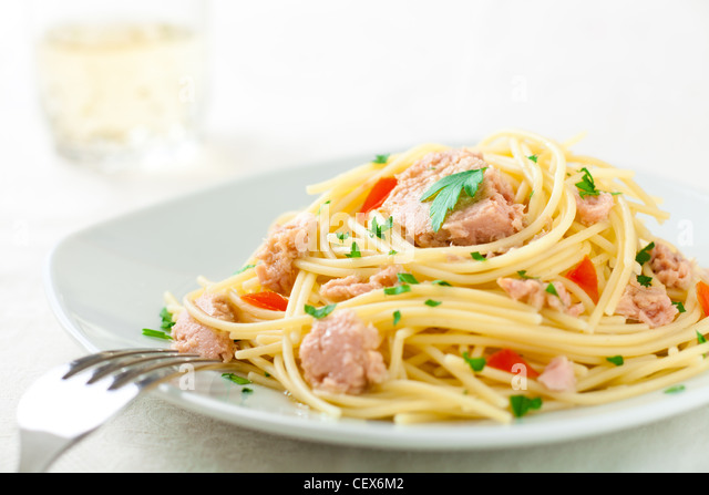Spaghetti with Tuna, Parsley and Tomato - Stock Image