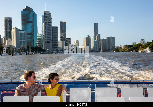Brisbane Australia Queensland Central Business District CBD Brisbane River CityCat ferry boat public transportation - Stock Image