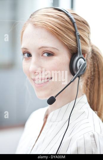 Telemarketer at work - Stock Image