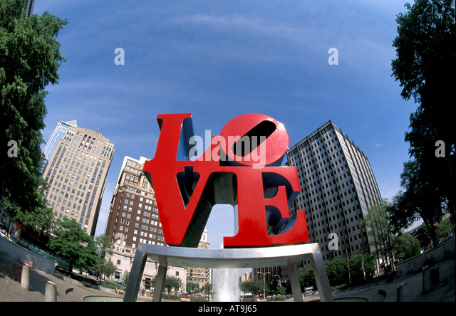 Philadelphia Pa Pennsylvania JFK Plaza Love Statue - Stock Image