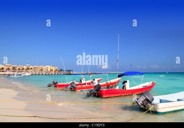 playa del Carmen mexico Mayan Riviera beach boats Caribbean sea - Stock Image