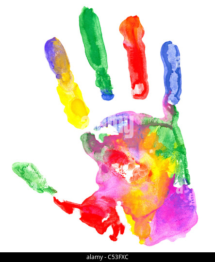 Close up of colored hand print on white background. - Stock Image
