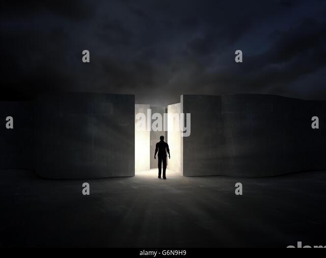 Man entering a mysterious maze - 3D rendering - Stock-Bilder