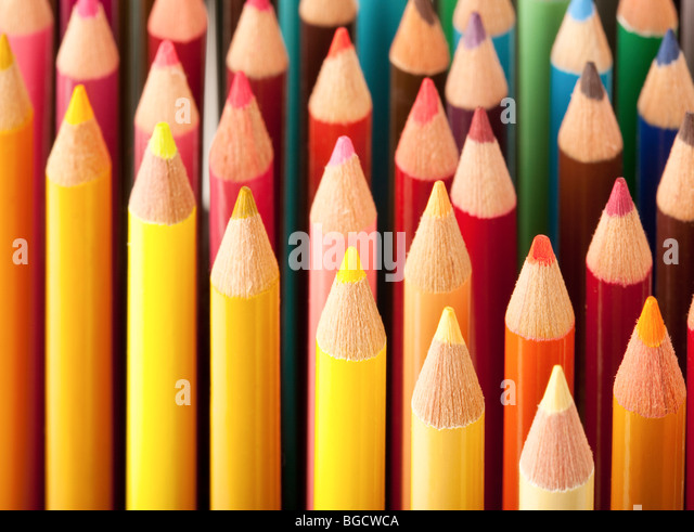 Close up of colored pencils - Stock Image