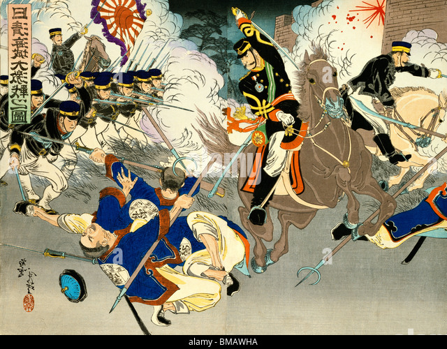 Engagements during the Sino-Japanese War, 1894-95. Japan, late 19th century - Stock Image
