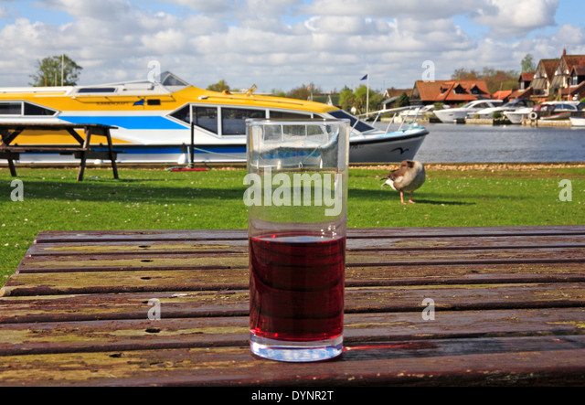 A half empty beer glass on a picnic table by the River Bure at Horning, Norfolk, England, United Kingdom. - Stock Image