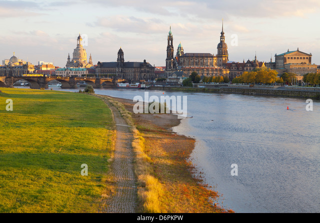 Historic Center of Dresden and the Elbe River at sunset, Saxony, Germany, Europe - Stock Image