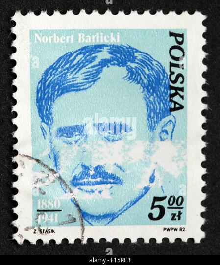 Polska 5.00zt Norbert Barlicki 1880-1941 Stamp - Stock Image