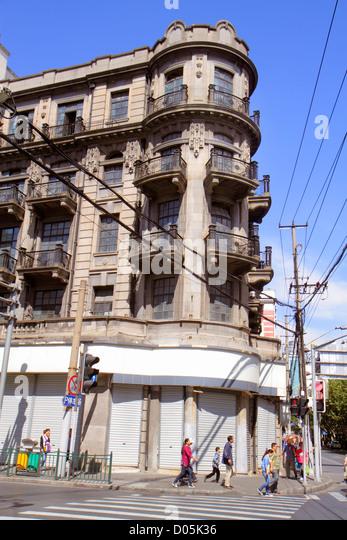 China Shanghai Huangpu District Sichuan Road street scene historic building European influence balconies - Stock Image