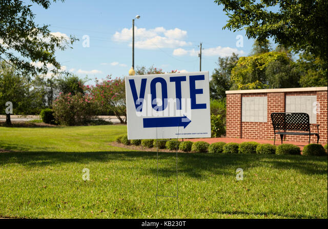 Vote sign on election day at an Alabama polling precinct.  Pike Road, Alabama, United States - Stock Image
