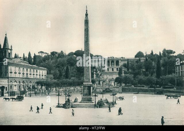 Piazza del Popolo and the Pincian Hill, Rome, Italy, 1927. Artist: Eugen Poppel. - Stock Image