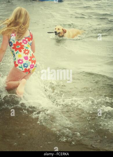 Girl In Swimming Costume Playing With Dog At Beach - Stock Image