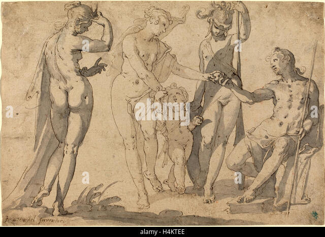 Joachim Anthonisz Wtewael, Dutch (c. 1566-1638), The Judgment of Paris, c. 1615, pen and brown ink with gray washes - Stock Image