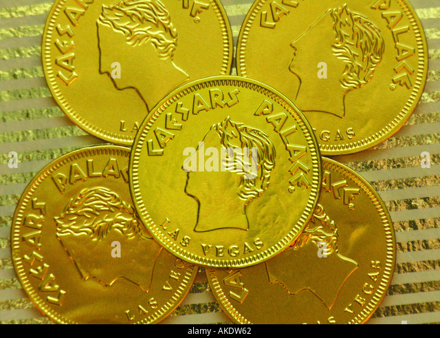 Las Vegas Nevada Caesars Palace chocolate candy as gold coins - Stock Image