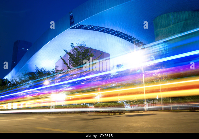 light trails on the street - Stock Image