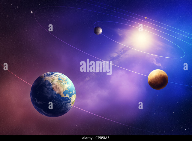Inner four solar system planets (Elements of this image furnished by NASA- earthmap http://visibleearth.nasa.gov) - Stock Image
