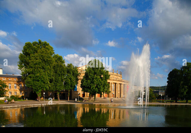 DEU, Deutschland, Stuttgart: Staatstheater bei Abendsonne | Main Central Railway Station at Sunset, Stuttgart, Baden - Stock-Bilder