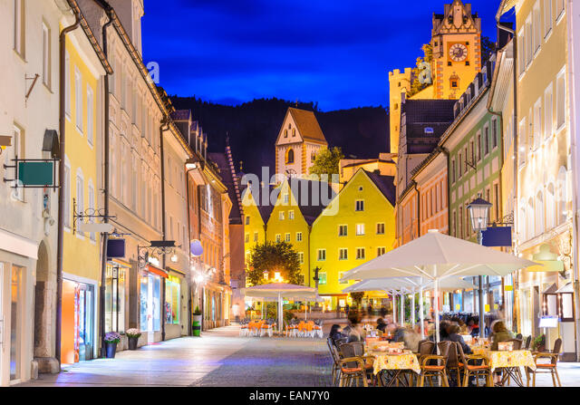 Reichenstrasse Street in Fussen, Germany. - Stock-Bilder