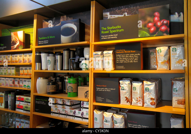 Maine Freeport Main Street Route 1 Starbucks Coffee retail display for sale - Stock Image