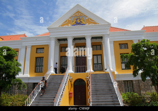 Curaçao Netherlands Antilles Dutch Willemstad Punda Joint Court of Justice City Hall UNESCO World Heritage - Stock Image