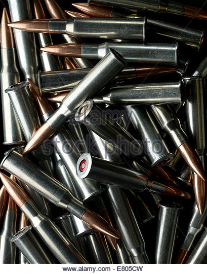 Silver bullets pile - Stock Image