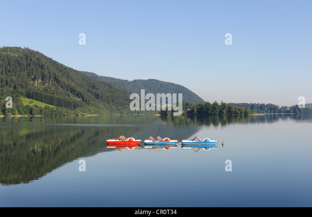 Three pedal boats on Lake Schliersee, Upper Bavaria, Bavaria, Germany, Europe, PublicGround - Stock Image