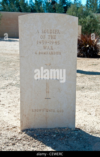 White tombstone Egypt El Alamein World War 2 Commonwealth Cemetery - Stock Image