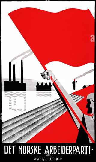 """Poster """"The Norwegian Labour Party"""" designed by Erling Nielsen - Stock Image"""
