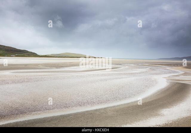 Tranquil sandy beach, Luskentyre Beach, Harris, Outer Hebrides - Stock Image