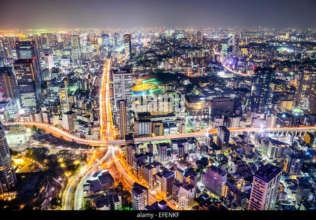 Tokyo, Japan cityscape and highways. - Stock-Bilder