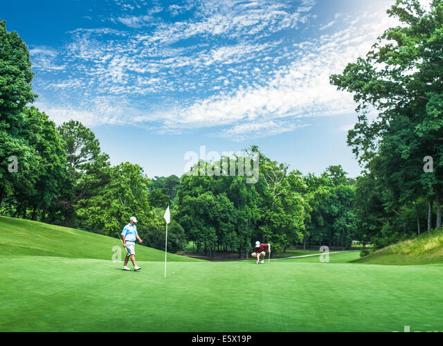 Two young male golfers competing on golf green, Apex, North Carolina, USA - Stock Image