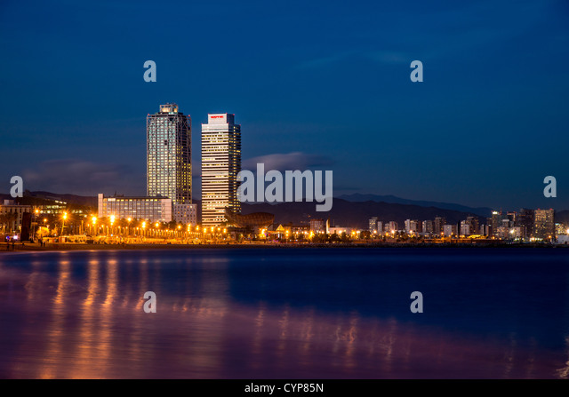 Night view over Hotel Arts and Mapfre Tower, Barcelona, Catalonia, Spain - Stock Image
