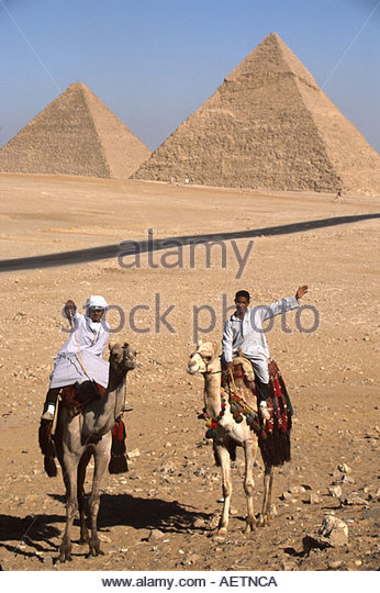 Egypt Cairo Giza District Great Pyramid of Kheops built 2600 B.C. Seven Wonders of the World camel rides - Stock Image