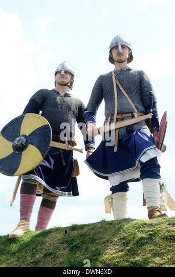 Saxon period Warriors, 9th century, English historical re-enactment soldier soldiers warrior England UK - Stock Image
