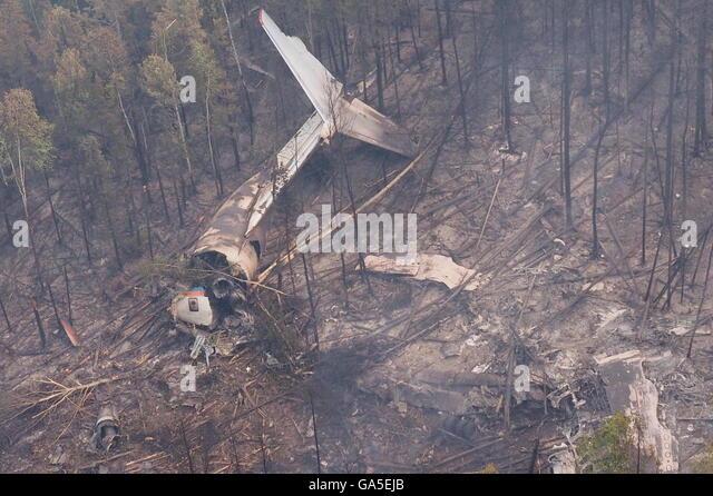 Irkutsk Region, Russia. 3rd July, 2016. Debris of an Ilyushin Il-76 aircraft at a crash site 4 kilometers south - Stock Image