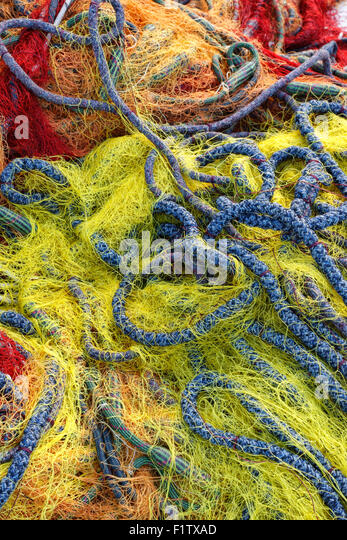 Colorful fishing net close up - Stock Image