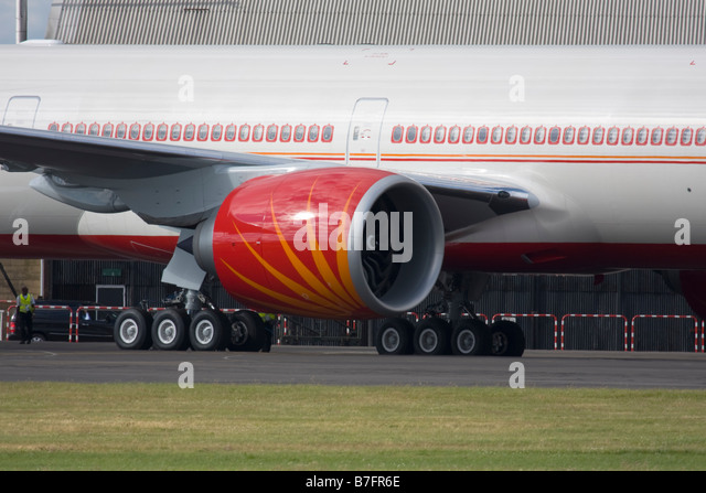 The world's most powerful jet engine General Electric GE90 of Air India Boeing 777-337/ER - Stock Image
