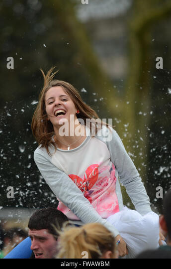 A pillow fight in London has become an annual event organised by Focal Local, a group aiming to promote positive - Stock Image