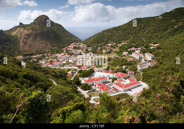 The Netherlands, The Bottom, Saba Island, Dutch Caribbean. Village and Saba University School of Medicine. - Stock Image