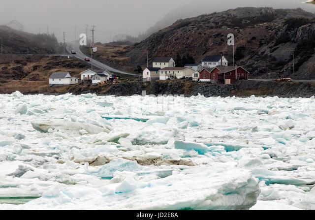 Sea Ice in Twillingate Harbour - Twillingate, Newfoundland, Canada - Stock Image