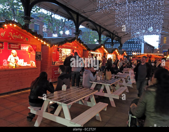 Warrington Winter Xmas German Market in the town centre, Cheshire, England, UK - Stock Image